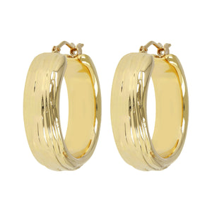 TEXTURED LINED HOOP EARRINGS - WSRE00095 front and side