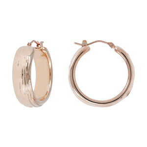 TEXTURED LINED HOOP EARRINGS - WSRE00095