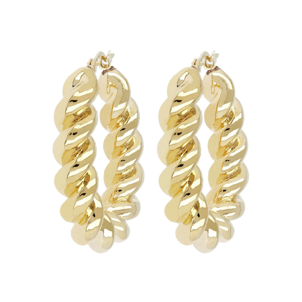 TWISTED OVAL HOOP EARRINGS - WSRE00069 front and side