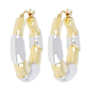 TWO TONE BAMBU HOOP EARRING - WSRE00092 front and side