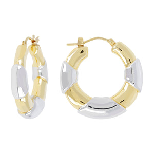 TWO TONE BAMBU HOOP EARRING - WSRE00092