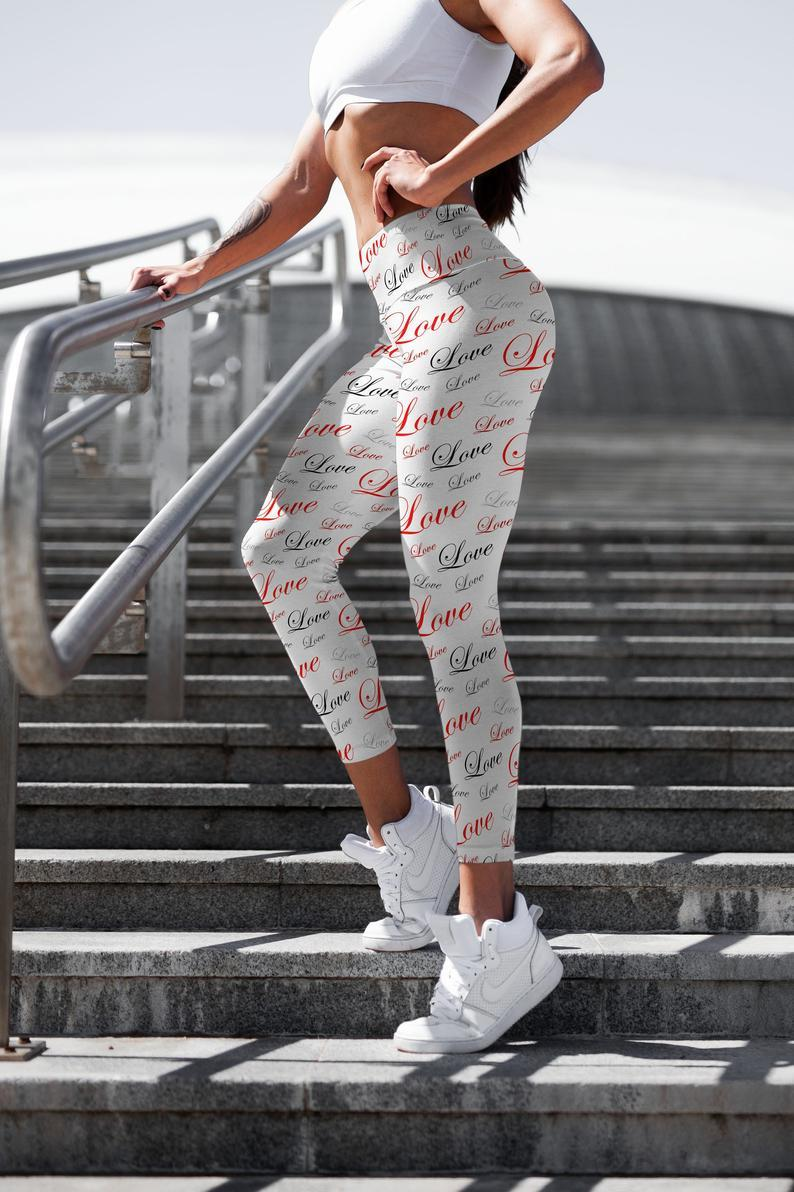 Valentine Love leggings, Capris and Shorts
