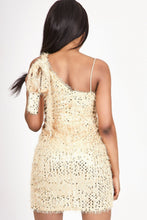 Load image into Gallery viewer, Gold One Shoulder Sequin Dress