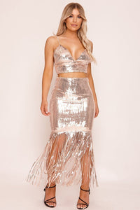 Gold Sequin Waterfall Co-ord