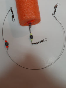 "8"" Weighted Game Fishing Bobber Leader;Red Fish, Tarpon, Cobia, Snook, Trout, &others;300Lb Test; Piano Wire construct; Lg 8"" Vibrant Colorful Float; W30""Extension Pkg of 2($33.98);(Handmade)"