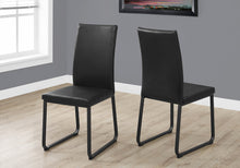 "Load image into Gallery viewer, Two 38"" Black Leather Look, Foam, and Metal Dining"