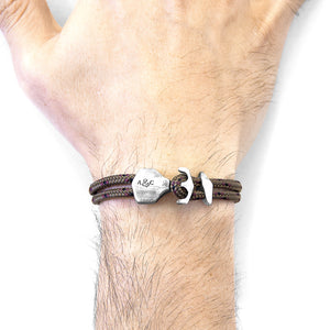 Brown Delta Anchor Silver and Rope Bracelet