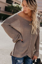 Load image into Gallery viewer, Casual Brown Textured V Neck Pullover Sweater