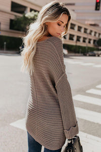 Casual Brown Textured V Neck Pullover Sweater