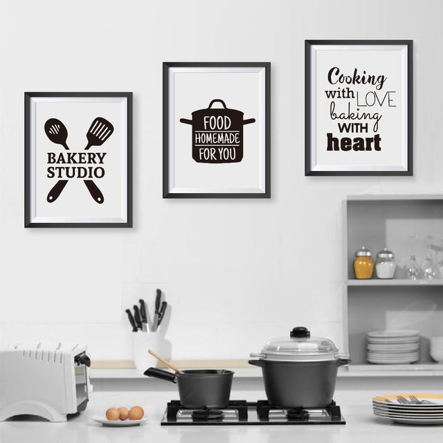 Cooking With Love Kitchen Quote Wall Art Prints