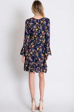 Load image into Gallery viewer, Boho Floral Navy Dress