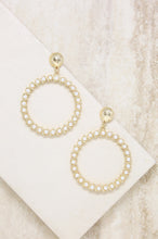 Load image into Gallery viewer, Cyclical Pearl Drop Hoop Earrings in Gold