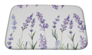 Bath Mat, Watercolor Pattern With Lavender