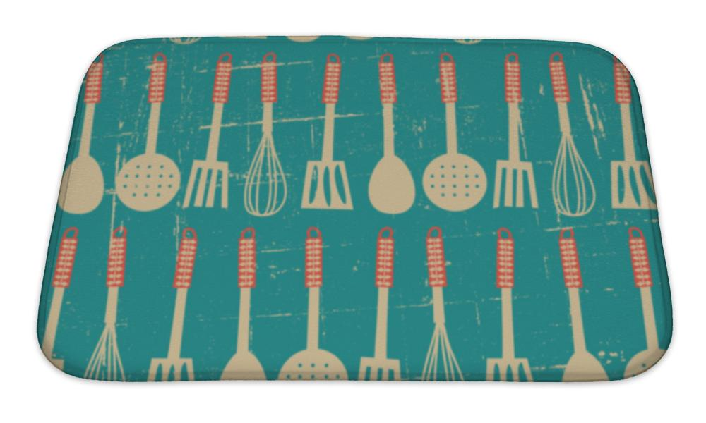Bath Mat, Retro Kitchen Pattern