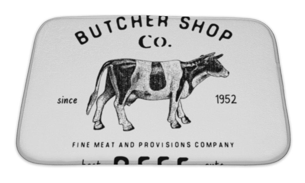 Bath Mat, Butcher Shop Vintage Emblem Beef Meat Products Butchery Logo Template Retro