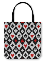 Load image into Gallery viewer, Tote Bag, Playing Cards Suit Symbols Pattern Design