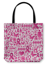 Load image into Gallery viewer, Tote Bag, Breast Cancer Awareness Pattern