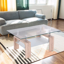 Load image into Gallery viewer, Rectangular Glass Coffee Table with Storage