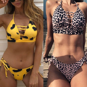 Popular Sexy Womens Leopard Bikini Push-Up Padded