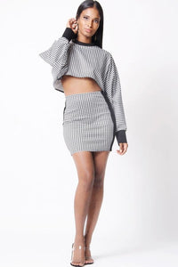 HOUNDSTOOTH DOLMAN TWO PIECE SET