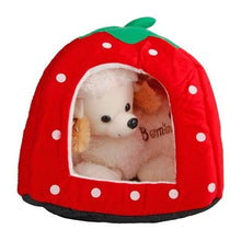 Load image into Gallery viewer, Soft Strawberry Leopard Pet Dog Cat House Tent