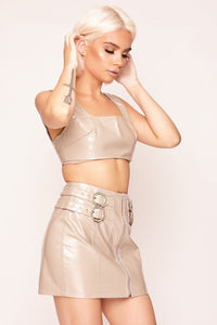 Nude PU Square Neck Crop Top