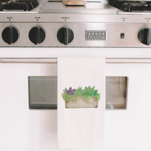 Succulent Box Watercolor Tea Towel