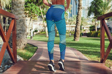 Load image into Gallery viewer, Waves Blue Leggings For Women Gym Leggings Yoga
