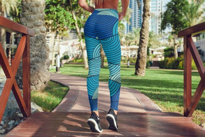 Waves Blue Leggings For Women Gym Leggings Yoga