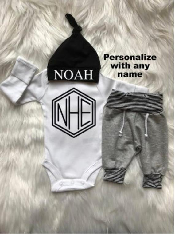 Personalized Baby Boy Coming Home Outfit