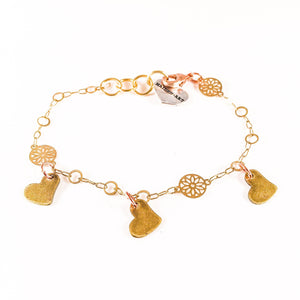 Triple Bronze Heart Charms Bracelet with 18kt Gold