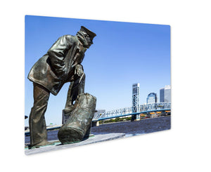 Metal Panel Print, Jacksonville Floridskyline Sailor Sculpture Along St Johns River
