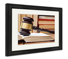 Load image into Gallery viewer, Framed Print, Supreme Court Law Book Wooden Judges Gavel On Table Courtroom