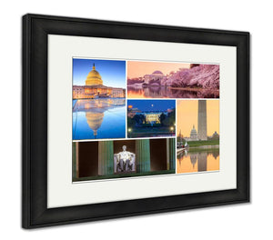 Framed Print, Washington Dc Famous Landmarks Picture Collage