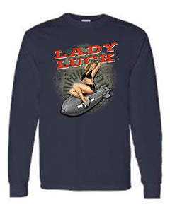 Men's/Unisex Sexy Vintage Lady Luck On Navy Bomb