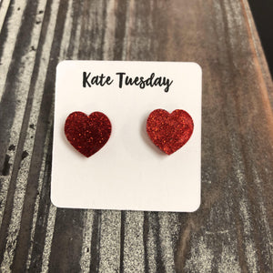 Red Glitter Heart Stud Earrings
