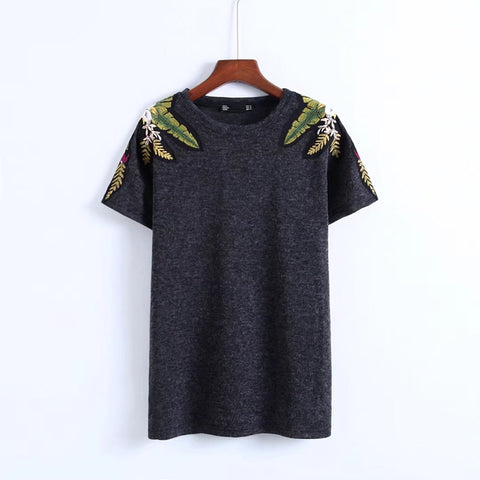 Shoulder Floral Design Knit Tops