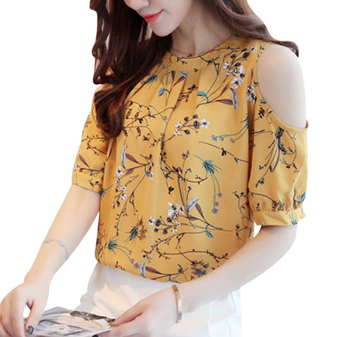 Shoulder Chiffon Floral Shirt