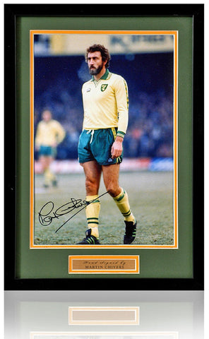 Martin Chivers Hand Signed 12x8'' Norwich City Framed Photograph AFTAL COA