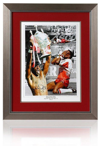 Large MARTIN OFFIAH hand signed Wigan Warriors Rugby League montage
