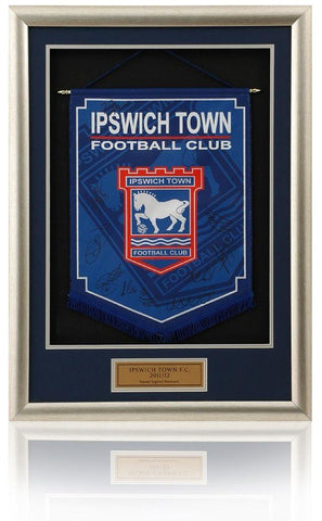 Ipswich Town FC. 2011/12 Squad Hand Signed Deep Framed Pennant AFTAL COA