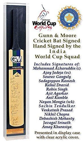 GM Cricket Bat Hand Signed by India 1999 World Cup Squad