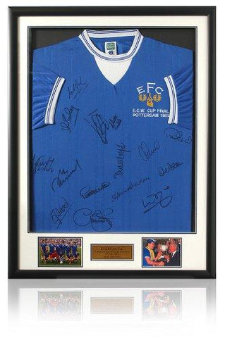 EVERTON 1985 Squad Hand ECWC Final Shirt Signed by 15 (LOT622)