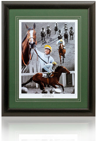 Jockey Willie Carson OBE hand signed 16x12'' montage