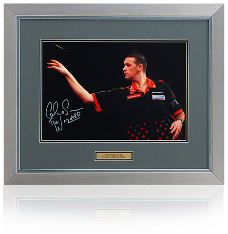 Colin 'The Wizard' Osborne Hand Signed 16x12'' Framed Darts Photograph AFTAL COA