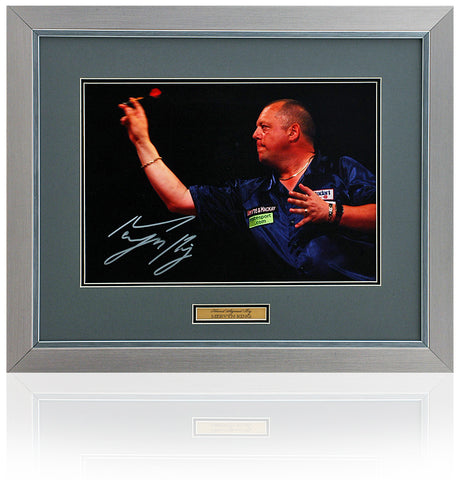 Mervyn 'The King' King Hand Signed 16x12'' Framed Darts Photograph AFTAL COA