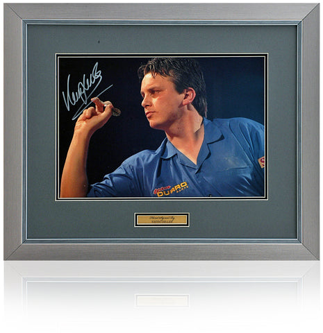 Keith Deller Hand Signed 16x12'' Framed Darts Photograph AFTAL COA