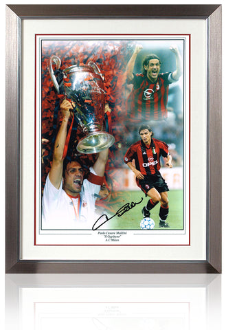 Paolo Maldini hand signed 16 x 12'' AC Milan montage