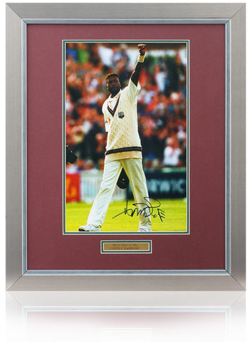 Curtly Ambrose hand signed 16x12'' Antigua Cricket photo