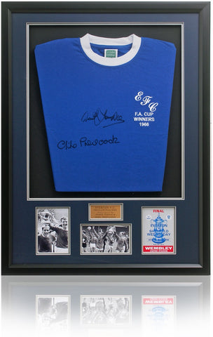 Derek Temple & Mike Trebilcock Hand Signed Everton Football Club Retro Shirt AFTAL Photo COA